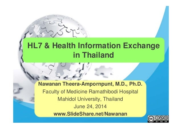 HL7 & Health Information Exchange in Thailand Nawanan Theera-Ampornpunt, M.D., Ph.D. Faculty of Medicine Ramathibodi Hospi...