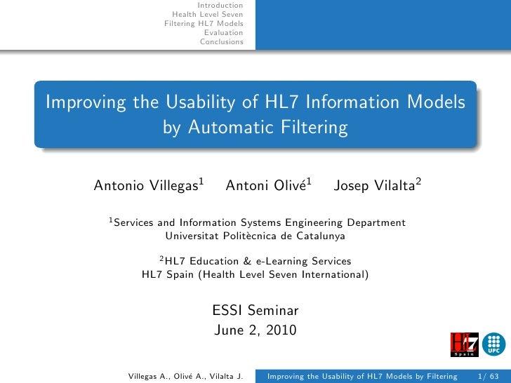 Introduction                        Health Level Seven                      Filtering HL7 Models                          ...