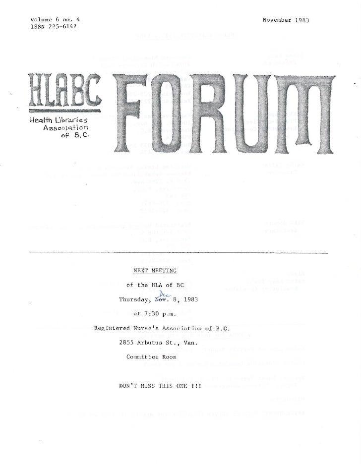 HLABC Forum: November 1983