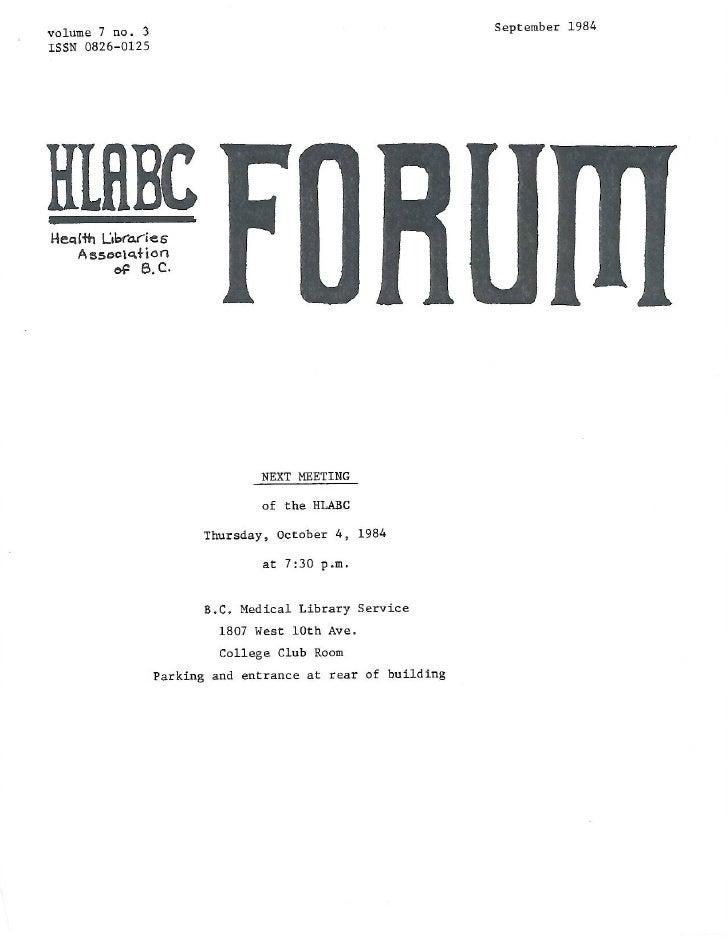 HLABC Forum: September 1984