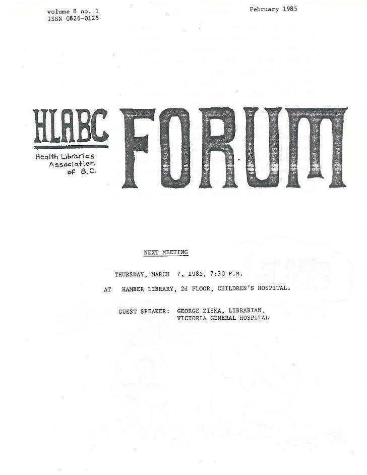 HLABC Forum: February 1985