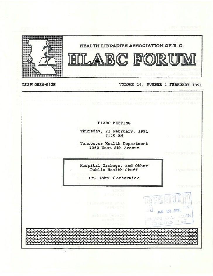 HLABC Forum: February 1991