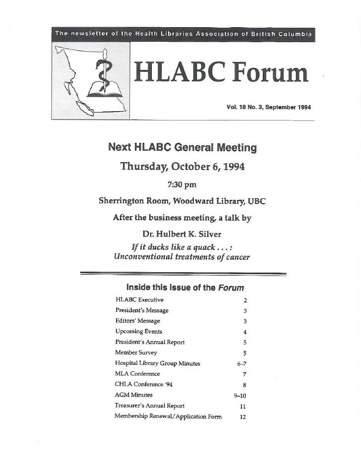 HLABC Forum: September 1994