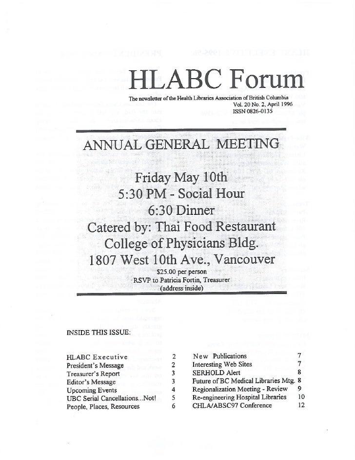 HLABC Forum: April 1996