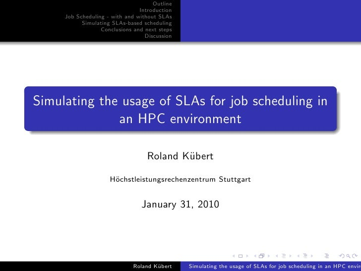 Simulating the usage of SLAs for job scheduling in an HPC environment