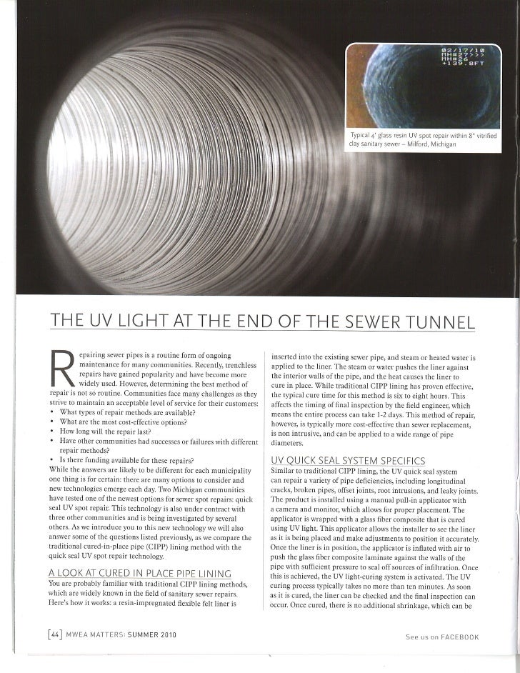 Comparing UV Spot Repairs for Sewer Pipes to Cured in Place Pipe (CIPP) Methods