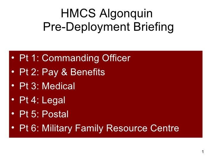 HMCS Algonquin Pre-Deployment Briefing
