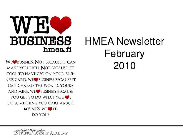 HMEA Newsletter February2010<br />