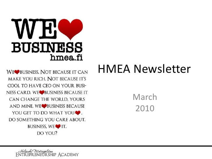 HMEA Newsletter<br />March2010<br />