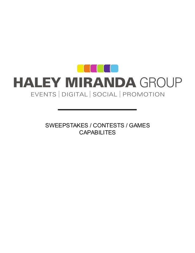 SWEEPSTAKES / CONTESTS / GAMESCAPABILITES
