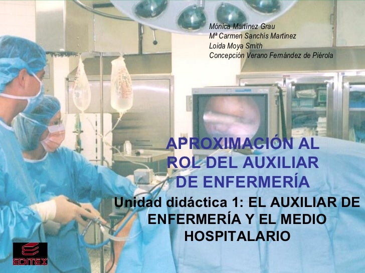 APROXIMACIÓN AL ROL DEL AUXILIAR DE ENFERMERÍA Unidad didáctica 1: EL AUXILIAR DE ENFERMERÍA Y EL MEDIO HOSPITALARIO Mónic...