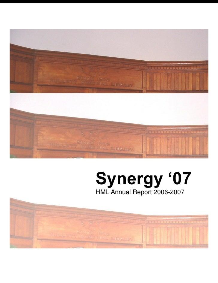 Hml Club Annual Report 2006-2007