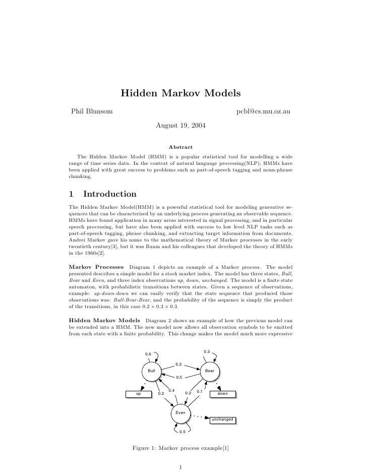 Hidden Markov Models Phil Blunsom                                                                             pcbl@cs.mu.o...