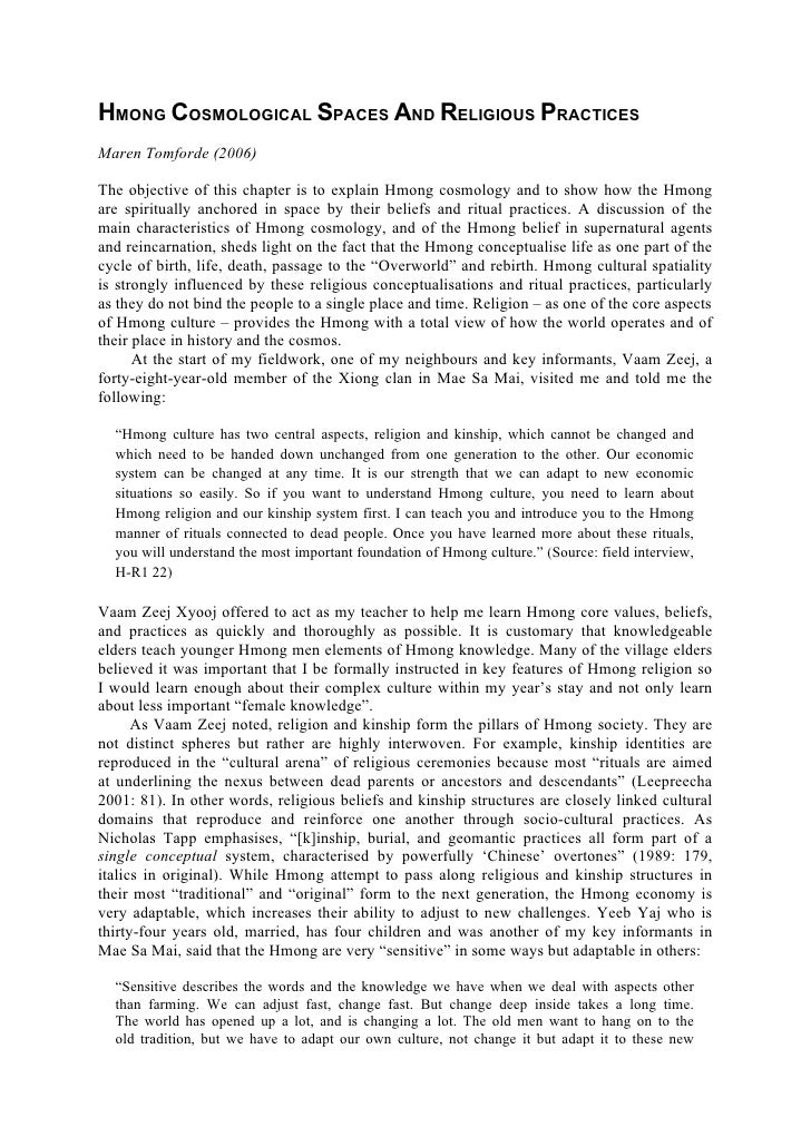 HMONG COSMOLOGICAL SPACES AND RELIGIOUS PRACTICESMaren Tomforde (2006)The objective of this chapter is to explain Hmong co...