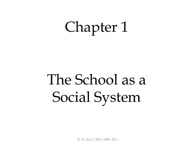 W. K. Hoy © 2003, 2008, 2011 Chapter 1 The School as a Social System