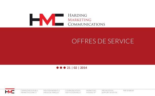 OFFRES DE SERVICE  21 | 02 | 2014  Campagne de pub & marketing direct  Positionnement & image de marque  Communication ins...