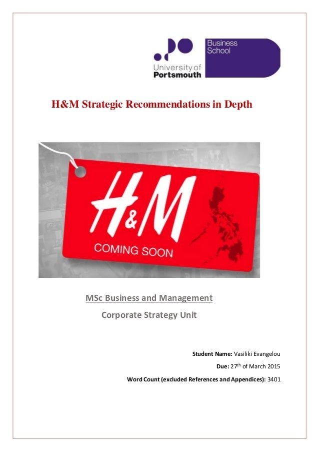 strategic of h m Three main strategic goals for h&m for the next five years would be linked with profitability, competition and technological leadership h&m has reported a rise in sales and profits and sales for the three months to 31st of august.