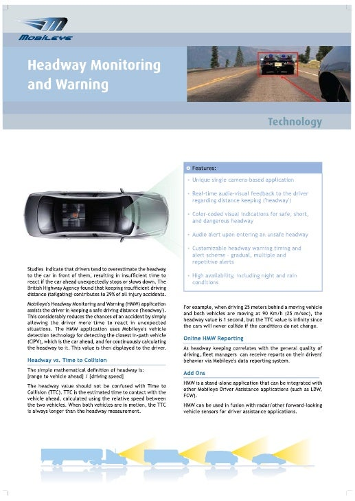 Headway Monitoring & Warning Technology - Brochure