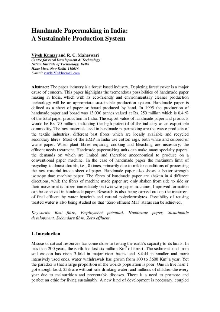 Handmade Papermaking in India:A Sustainable Production SystemVivek Kumar and R. C. MaheswariCentre for rural Development &...