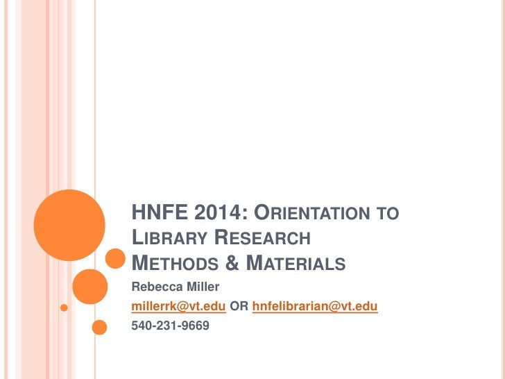 HNFE 2014 Library Lecture