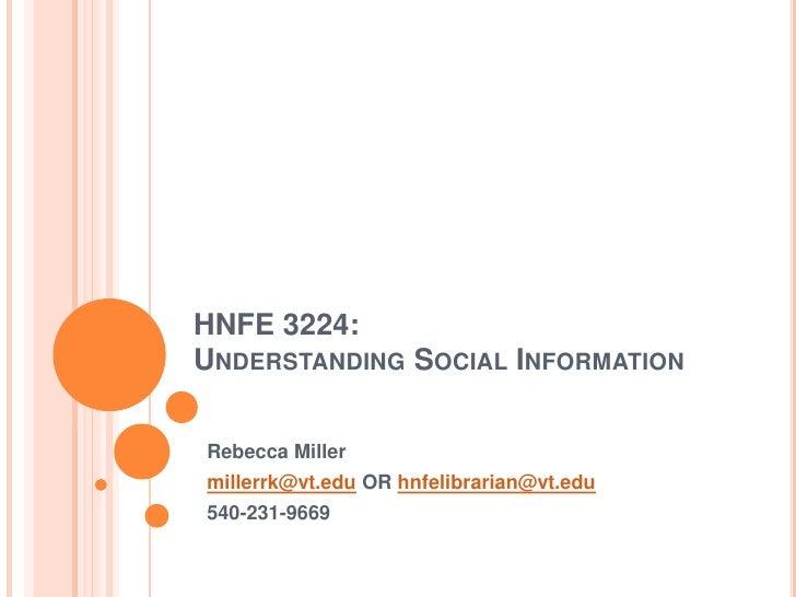 HNFE 3224:  Understanding Social Information
