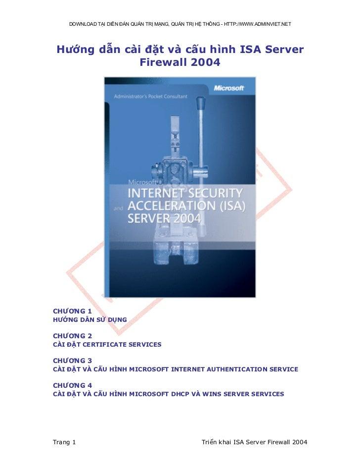 Hướng dẫn cài đặt và cấu hình isa server firewall 2004[bookbooming.com]