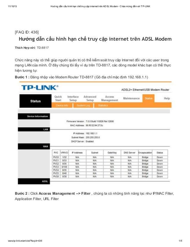 Hướng dẫn cấu hình hạn chế truy cập internet trên adsl modem   chào mừng đến với tp-link