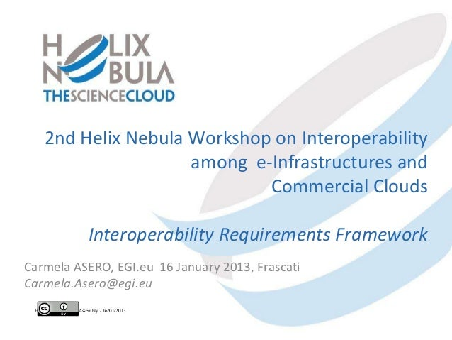 2nd Helix Nebula Workshop on Interoperability                      among e-Infrastructures and                            ...