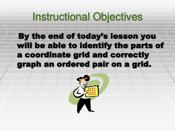 Instructional Objectives<br />   By the end of today's lesson you will be able to identify the parts of a coordinate grid ...