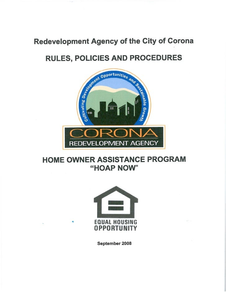 Corona Redevelopment Agency - HOAP Now Guidelines