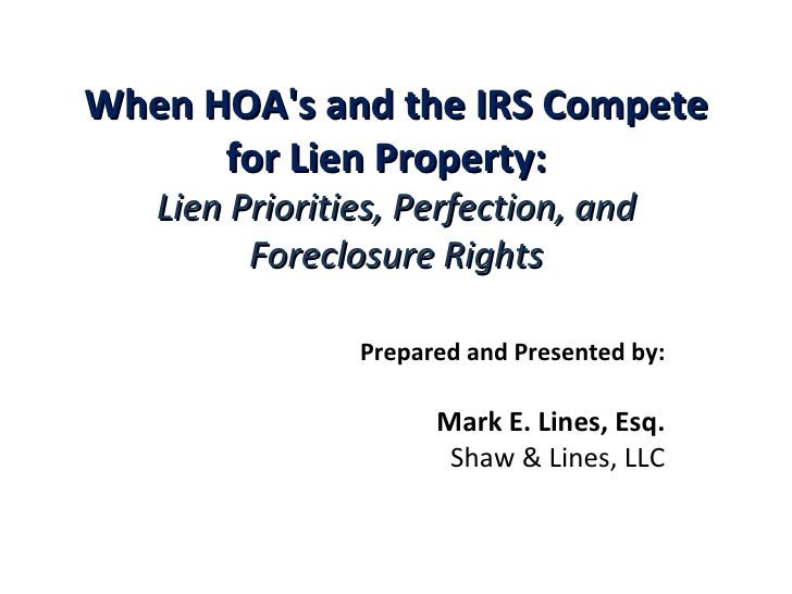 HOA and IRS Lien Priority Issues