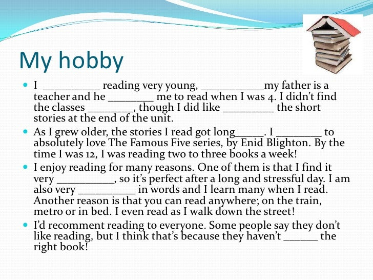 kids on my hobby essay My hobby this material contains samples of short stories about hobbies, with   this material is intended as help for parents and their children studying english.