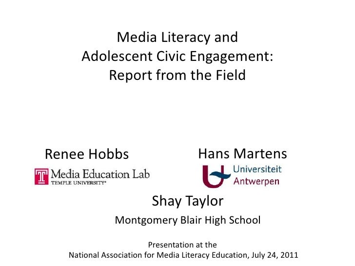 Media Literacy and Adolescent Civic Engagement: Report from the Field<br />Hans Martens<br />Renee Hobbs<br />Shay Taylor<...