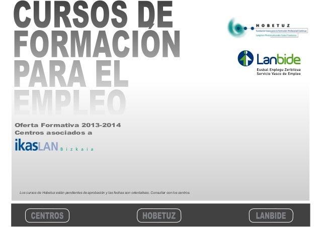 Cátalogo cursos Formación. Hobetuz y Lanbide. 2013-2014