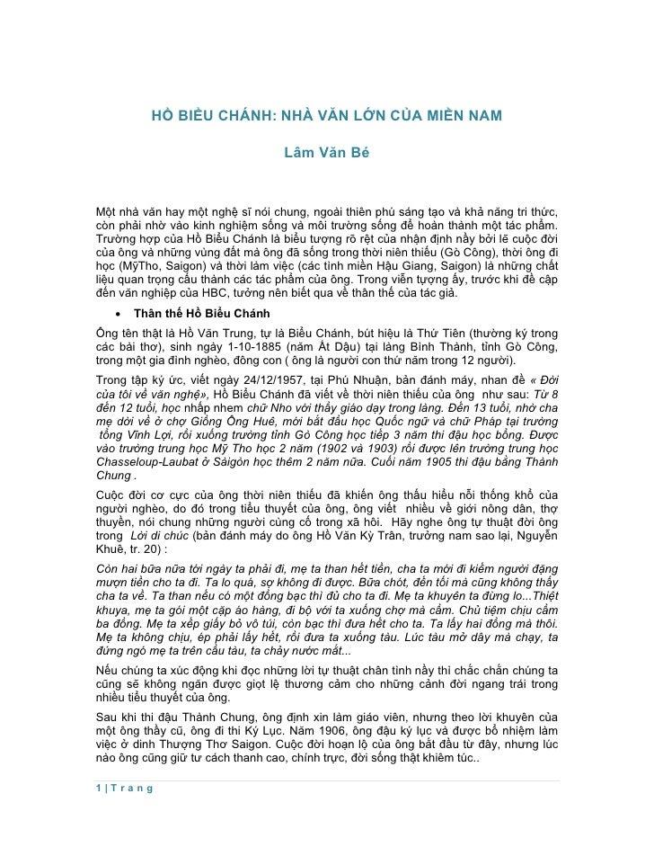 HỒ BIỂU CHÁNH: NHÀ VĂN LỚN CỦA MIỀN NAM                                   Lâm Văn BéMột nhà văn hay một nghệ sĩ nói chung,...