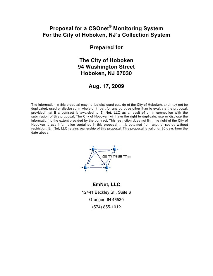 Proposal for a CSOnet® Monitoring System        For the City of Hoboken, NJ's Collection System                           ...