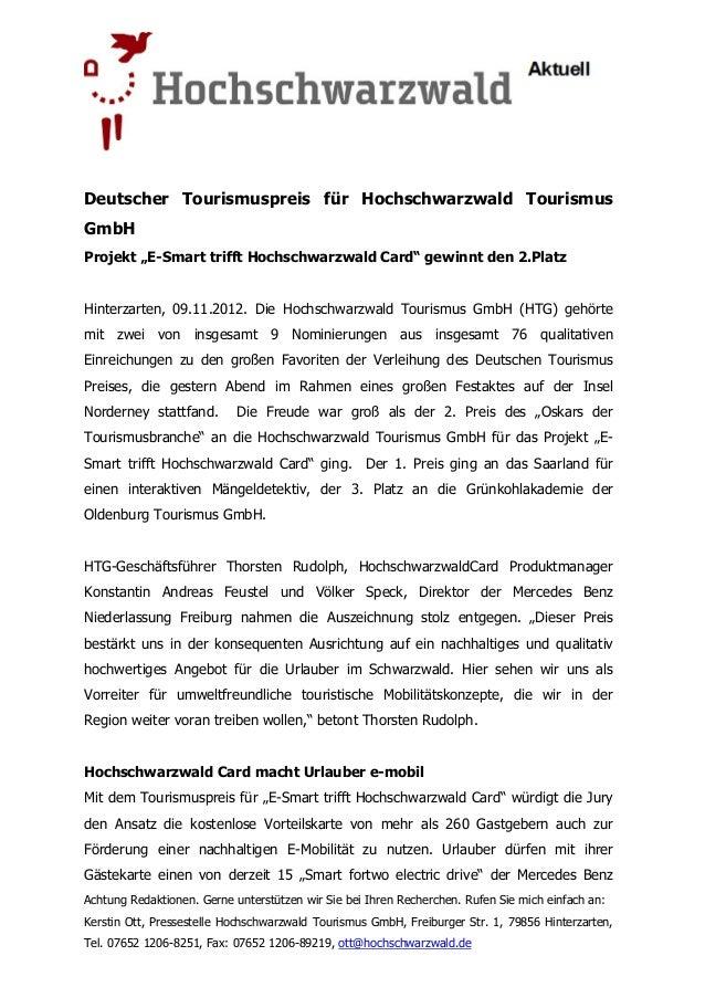 """Deutscher Tourismuspreis für Hochschwarzwald TourismusGmbHProjekt """"E Smart trifft Hochschwarzwald Card"""" gewinnt den 2.Plat..."""