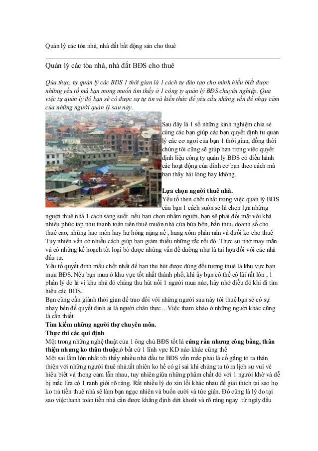 Quản lý các tòa nhà, nhà đất bất động sản cho thuê  Quản lý các tòa nhà, nhà đất BĐS cho thuê Qủa thực, tự quản lý các BĐS...