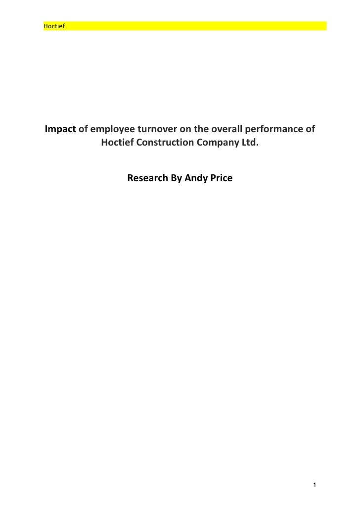 HoctiefImpact of employee turnover on the overall performance of            Hoctief Construction Company Ltd.             ...