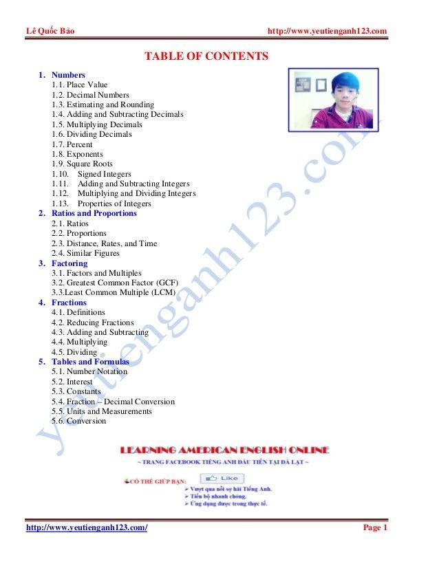 Lê Quốc Bảo http://www.yeutienganh123.com http://www.yeutienganh123.com/ Page 1 TABLE OF CONTENTS 1. Numbers 1.1. Place Va...