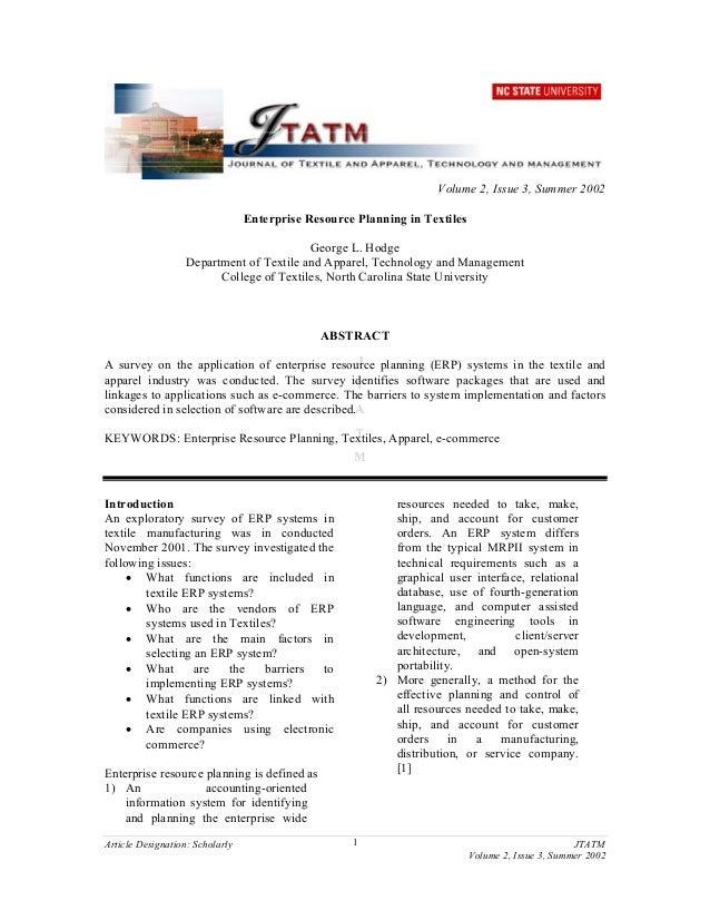 """Enterprise Resource Planning in Textiles"""