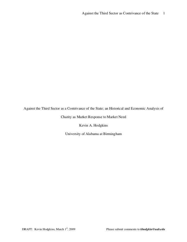 Against the Third Sector as Contrivance of the State    1 Against the Third Sector as a Contrivance of the State; an Histo...