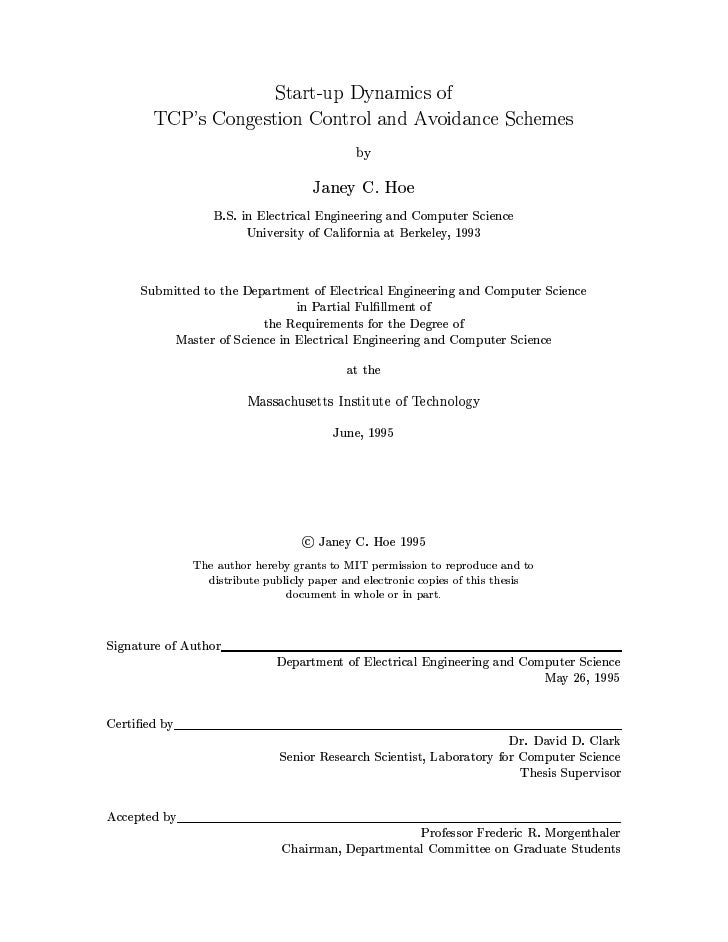 """""""Start-up dynamics of TCP's Congestion Control and Avoidance Schemes"""""""