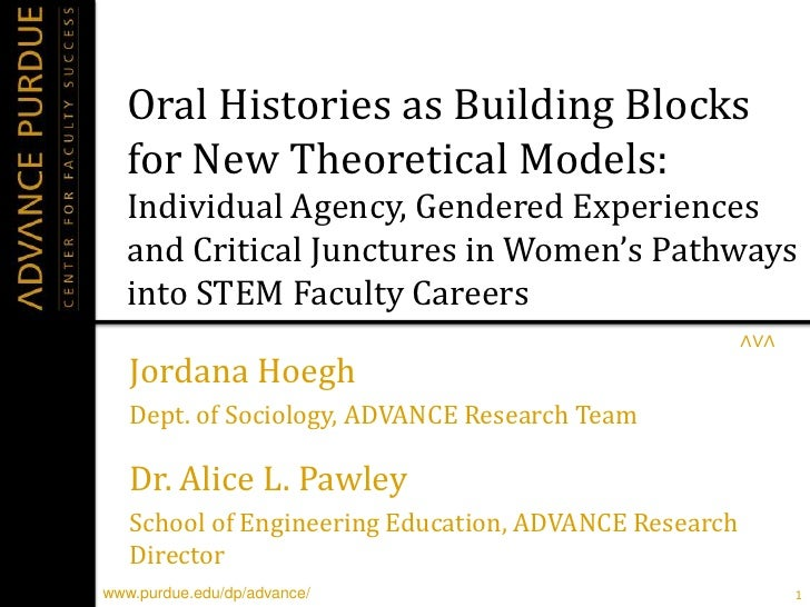 Oral Histories as Building Blocks for New Theoretical Models: Individual Agency, Gendered Experiences, and Critical Junctures in Women's Pathways into STEM Faculty Careers. By Jordana Hoegh