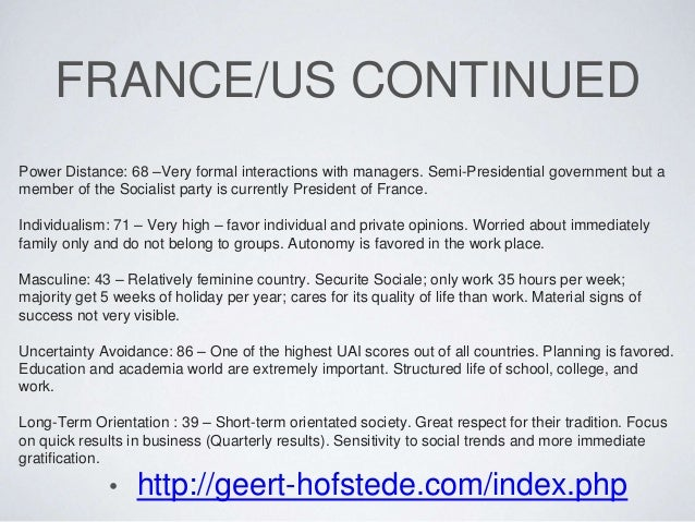france hofstede analysis French etiquette, business culture, manners, and geert hofstede analysis for france.