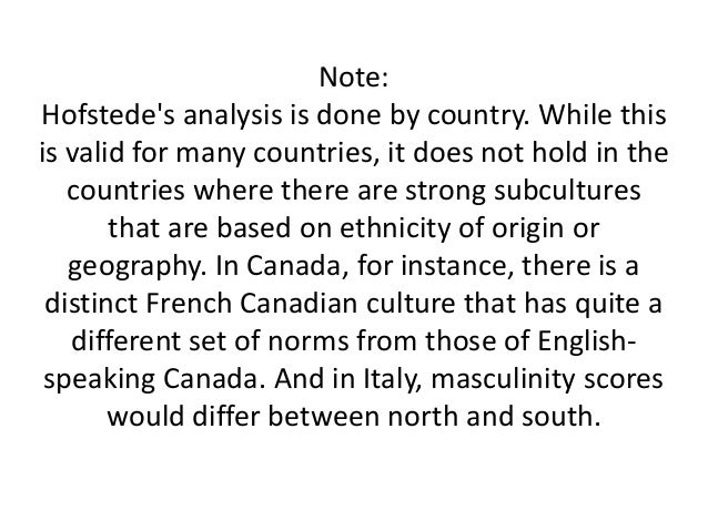 hofstede analysis Mexico - mexican geert hofstede cultural dimensions explained 3 of 3 8/2/2007 7:32 am contemplative, and not expected by their environment.