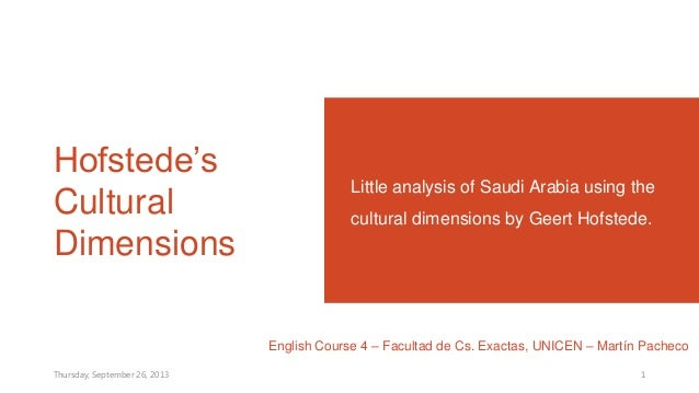 Hofstede's Cultural Dimensions Little analysis of Saudi Arabia using the cultural dimensions by Geert Hofstede. English Co...