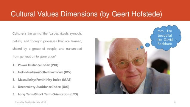 geert hosfted dimension The one dimension that would appear to vary by individual is the masculinity dimension however, even with this dimension, hofstede.