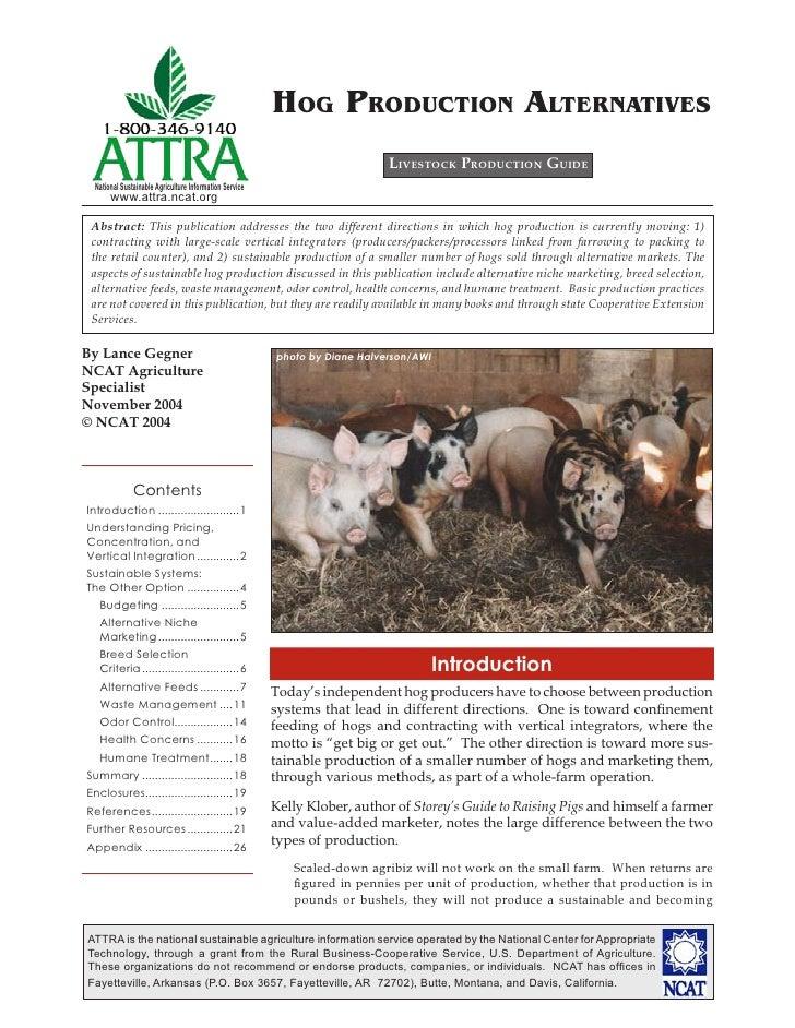 Hog Production Alternatives