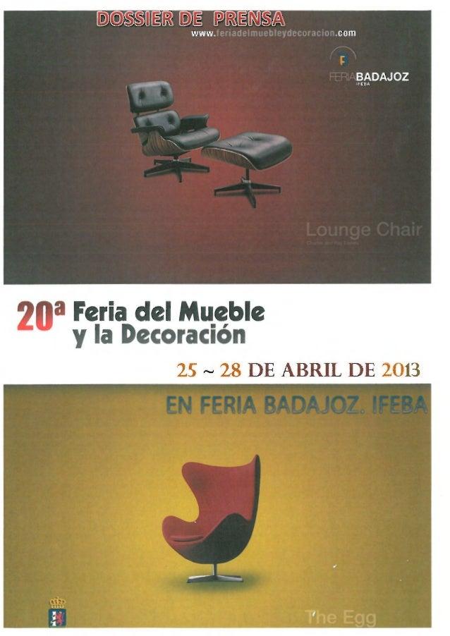 Dossier de Prensa FERIA DEL MUEBLE Y DECORACION 2013